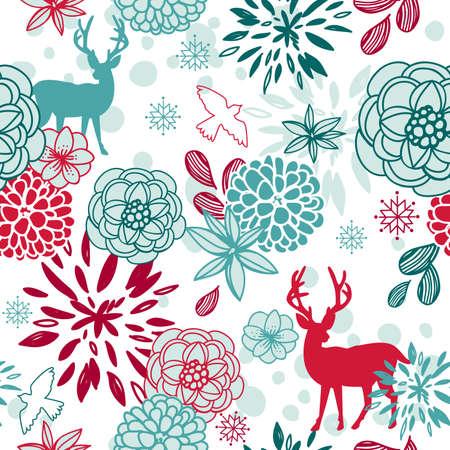 Kerst bloemen naadloze patroon met herten en vogels Stock Illustratie