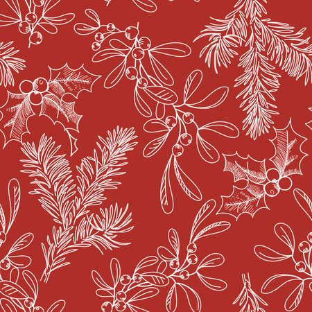 seamless background with Fir Misletow and Holly Vector
