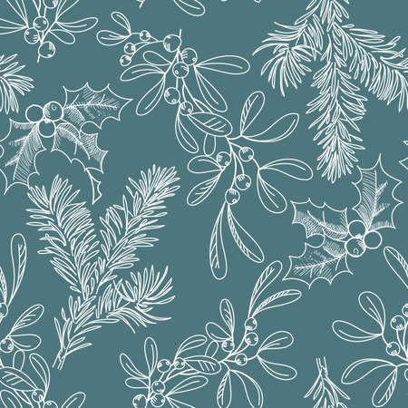 seamless background with Fir Misletoe and Holly Vector