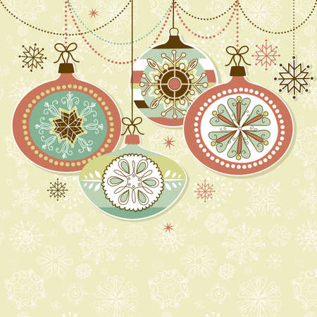 Retro Christmas Ornaments Vector