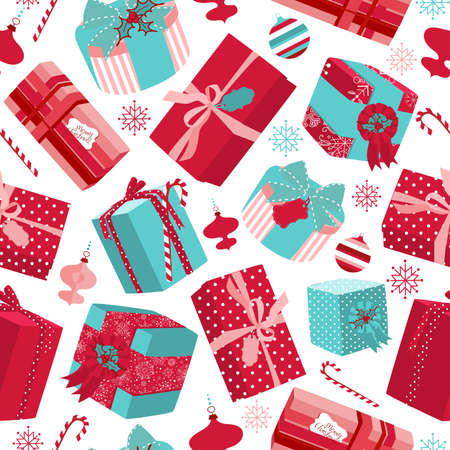 gift parcel: Retro Christmas Gift boxes. Seamless pattern  Illustration