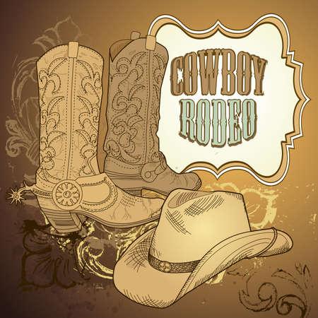 rodeo americano: owboy de fondo
