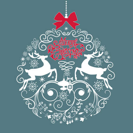 Blue and White Christmas ball illustration.  Vector