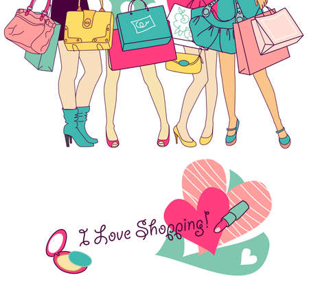 clothing rack: Shopping girls
