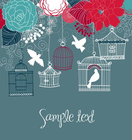 cage: Floral summer background. Birds out of their cages concept vector