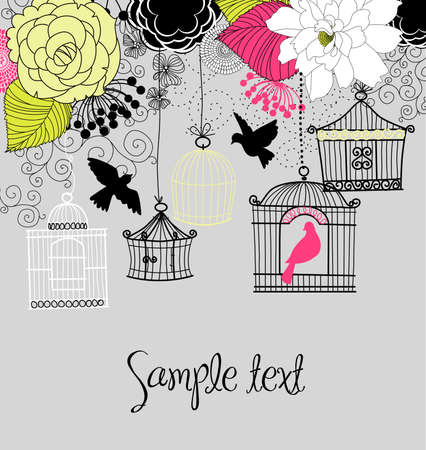 hanging flowers: Floral summer background. Birds out of their cages concept vector