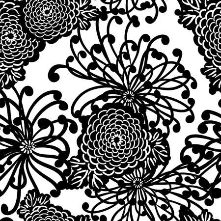botanical branch: Art Deco Flower seamless pattern, retro style, vector illustration