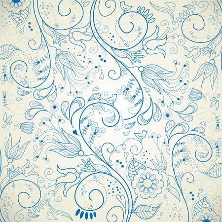 Floral hand drawn background  Çizim