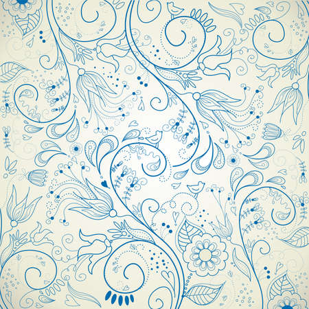 Floral hand drawn background  Vector