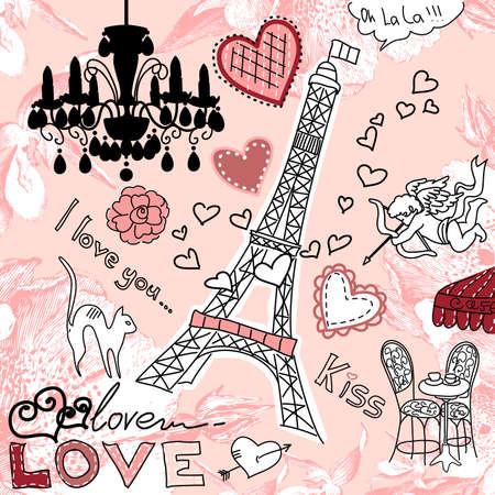retro font: AMORE in doodles Parigi Vettoriali