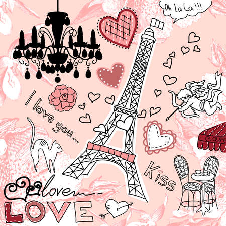 valentine cat: LOVE in Paris doodles