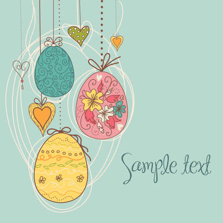 Hanging Easter Eggs Illustration