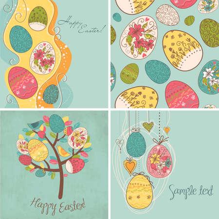 season: Set of Easter egg backgrounds