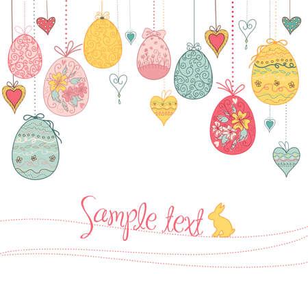 cartoon bunny: appendere uova di Pasqua e il cuore Vettoriali