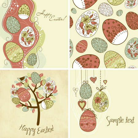 Set of Easter egg backgrounds  Vector
