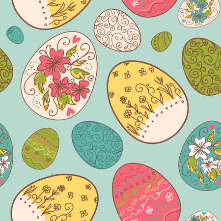 greeting card background: Seamless pattern with Easter eggs
