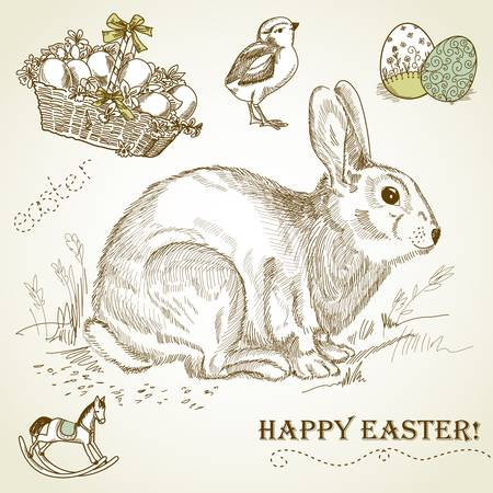 Vintage Easter rabbit Stock Vector - 12494186