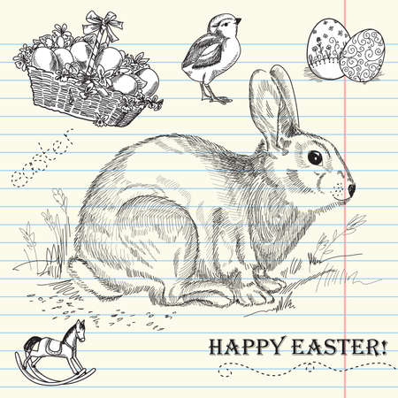 hand drawn flower: Vintage Easter rabbit