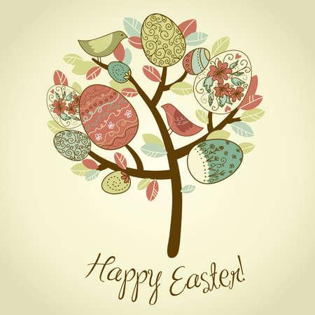 buona pasqua: Carta di Pasqua con alberi, uova e uccelli