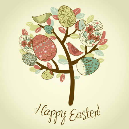 seasonal symbol: Easter Card with tree, eggs and birds