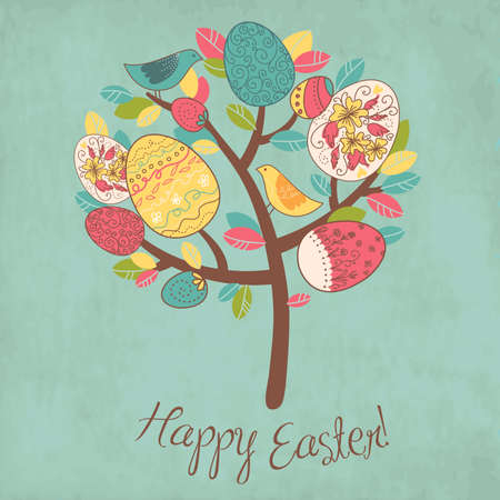 egg cartoon: Easter Card with tree, eggs and birds