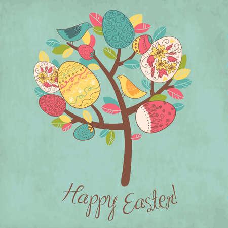 easter tree: Kaart van Pasen met boom, eieren en vogels