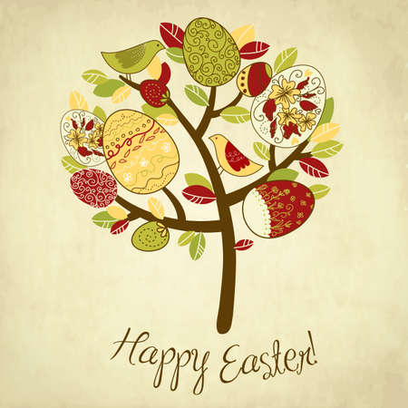 springtime: Easter Card with tree, eggs and birds
