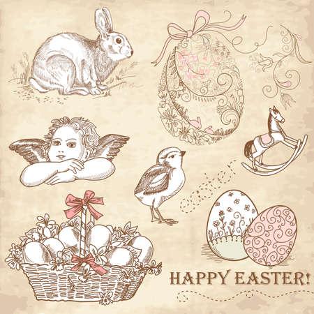 Vintage Easter Set  Vector