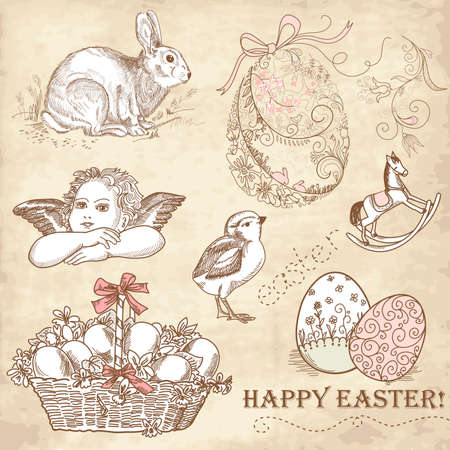 Vintage Easter Set  Illustration