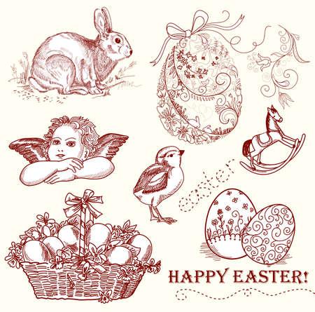 easter chick: Vintage Easter Set  Illustration