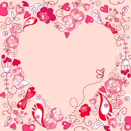 valentine day love beautiful: Cute floral background with a Heart Frame