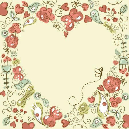 心フレームとかわいい花の背景