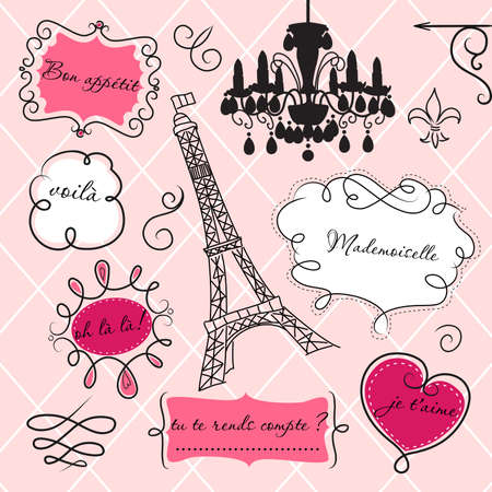 glamorous: Doodle frames in French style Illustration