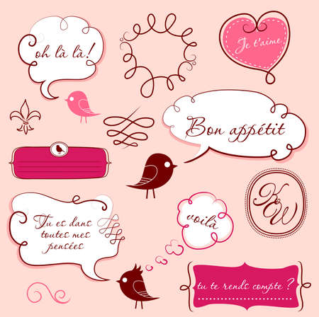 french style: Speech bubbles set in French style  Illustration