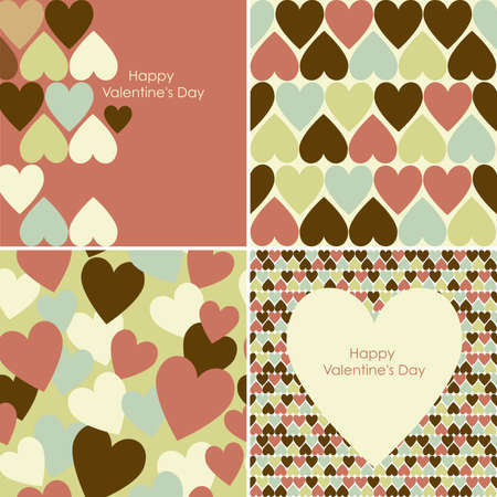 Vector set of Valentines seamless pattern  Vector