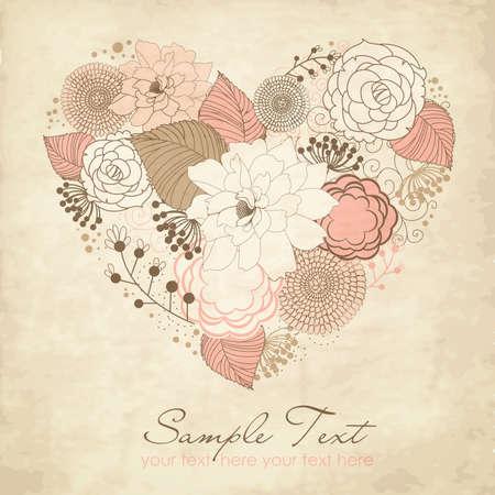 corazon dibujo: Coraz�n de flores Vectores