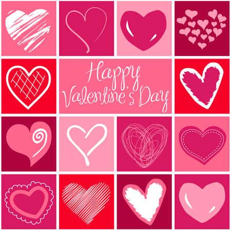 dessin coeur: Carte de voeux Saint-Valentin coeur. Vecteur