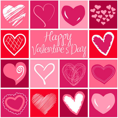 liebe: Valentine Herzen Gru�karte. Vektor Illustration
