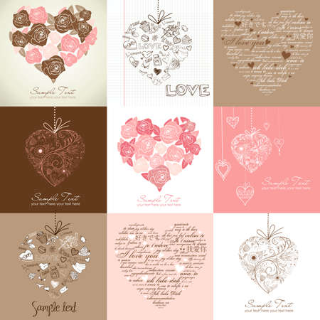 Greeting cards with heart  Vector