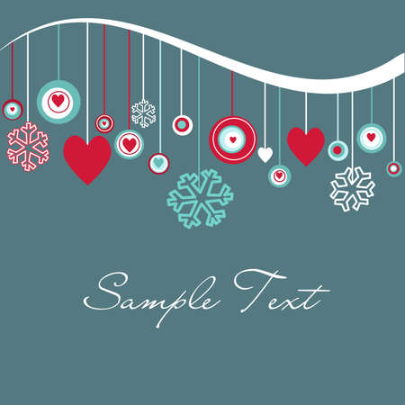 Cute background with hearts and snowflakes  Vector