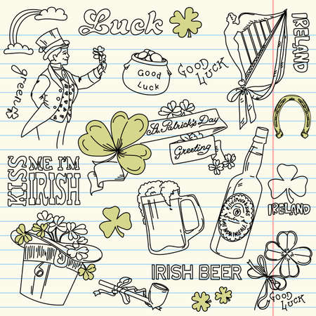 tobacco plants: Saint Patricks Day doodles - vintage style