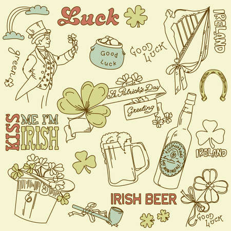 Saint Patricks Day doodles - vintage style Vector