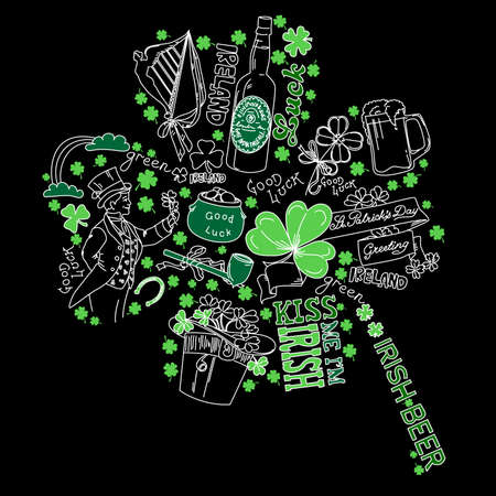 northern ireland: Saint Patricks Day doodles in the shape of clover with four leaves Illustration