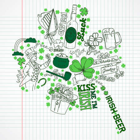 tobacco pipe: Saint Patricks Day doodles in the shape of clover with four leaves Illustration
