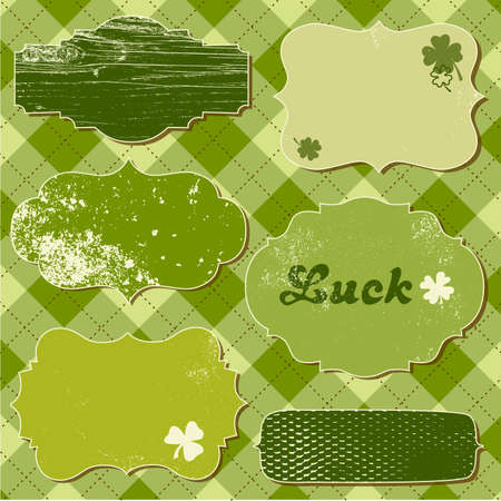 clover banners: Set of vector frames. St patricks Day theme.
