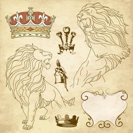 leones: Juego de le�n y la corona her�ldica