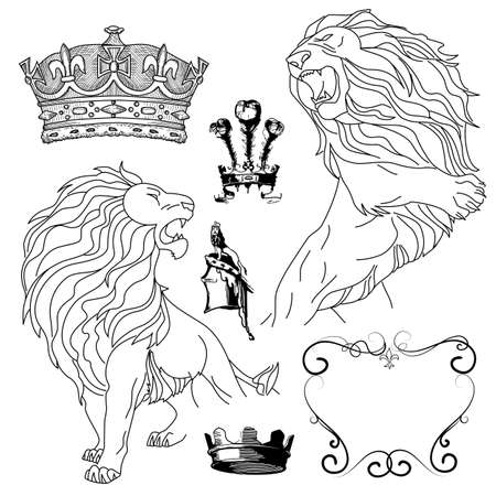 crown tail: Set of lion and crown heraldry