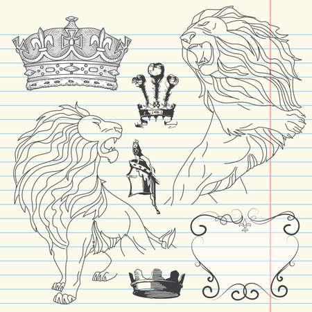 lion drawing: Set di leone e corona araldica Vettoriali