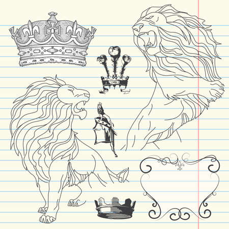 classic tattoo: Set of lion and crown heraldry