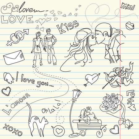 carta de amor: P�gina de San Valent�n d�a del libro de recuerdos Vectores